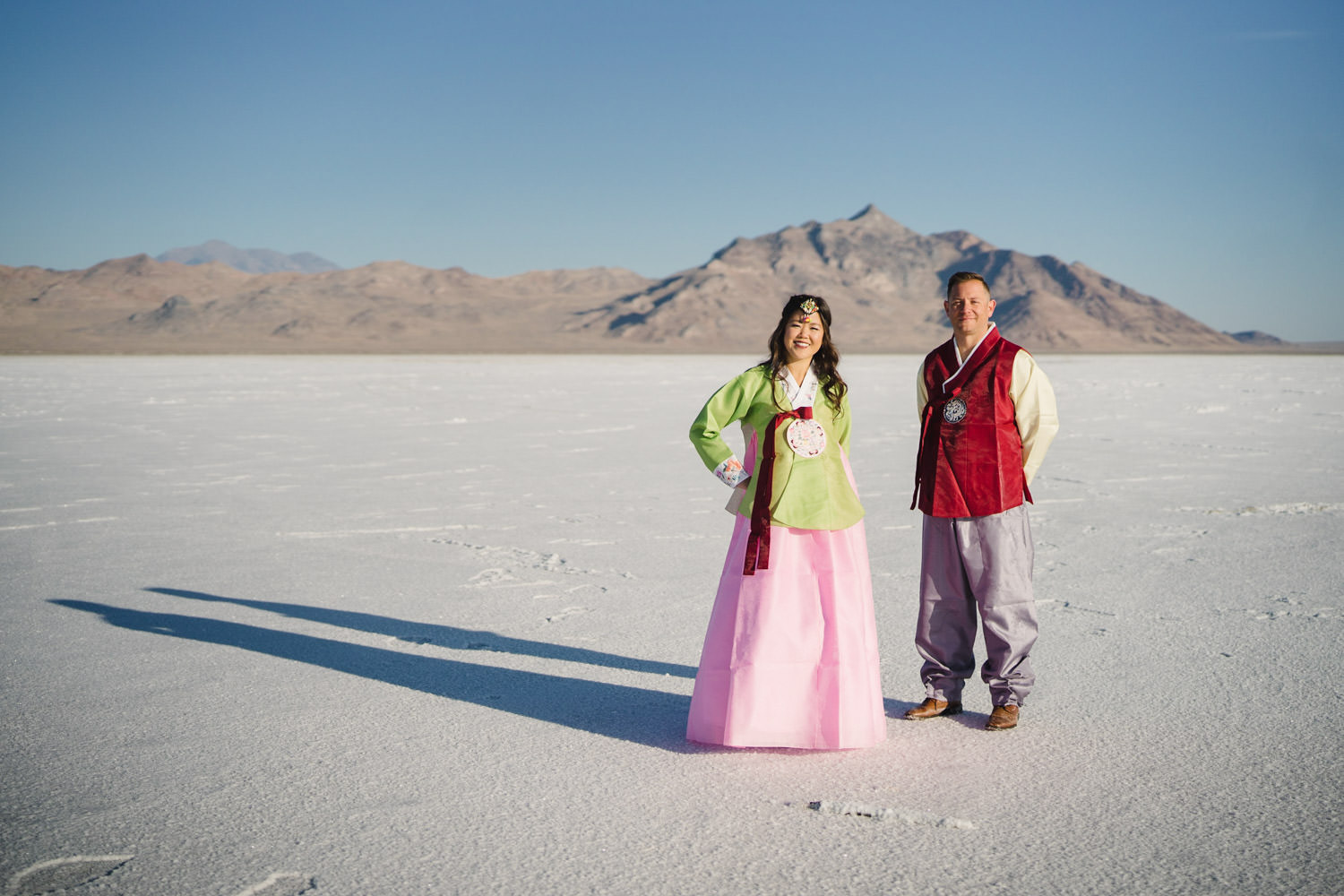 Bonneville Salt Flats wedding couple in traditional Hanbok photo