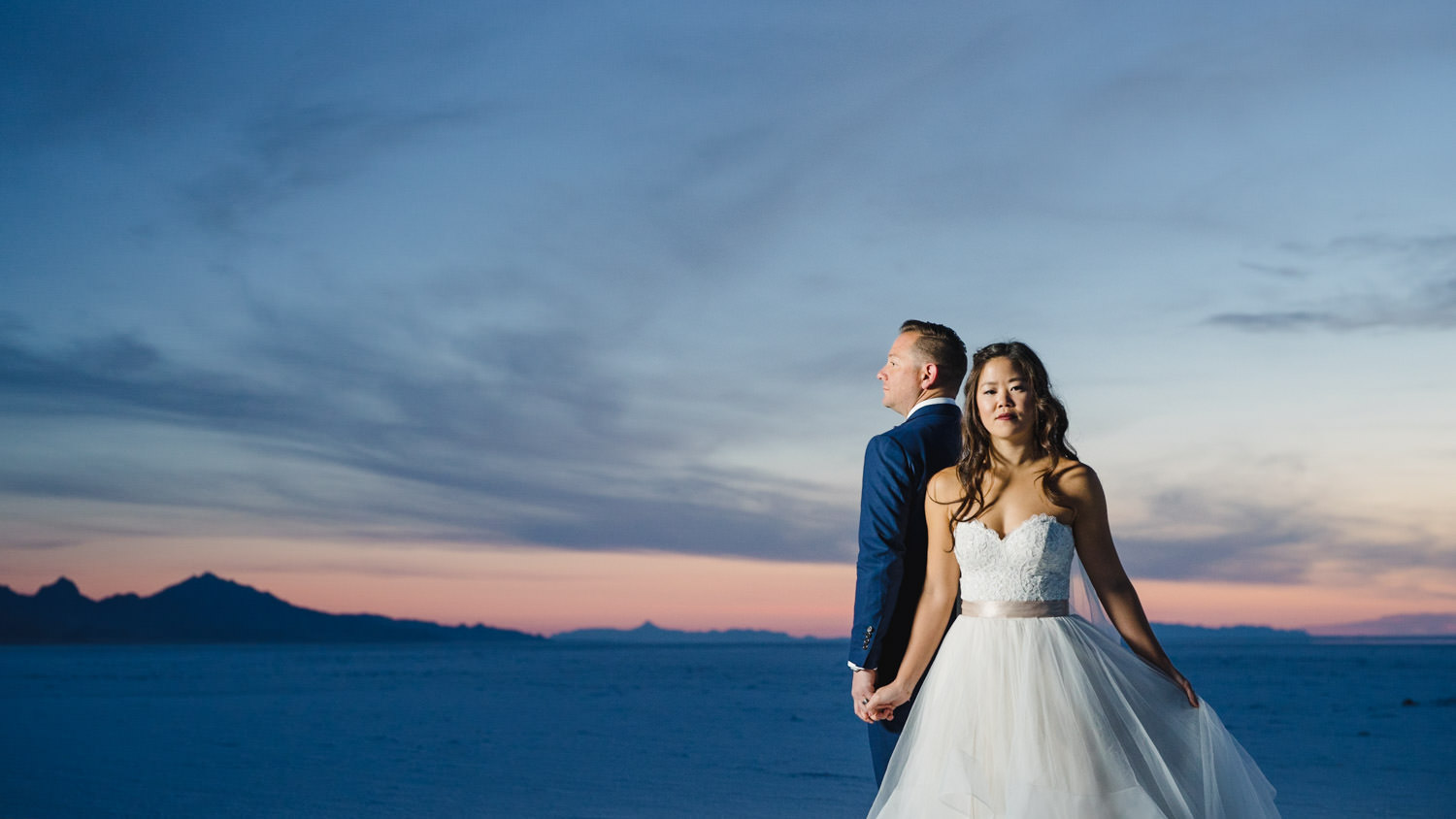 Bonneville Salt Flats wedding portrait during blue hour photo