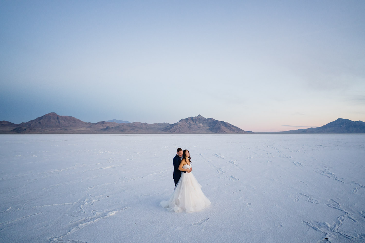 Bonneville Salt Flats wedding intimate portrait with landscape photo