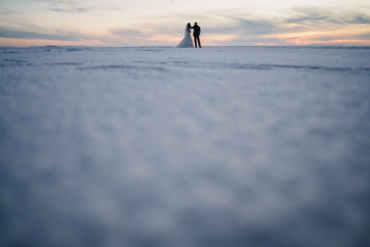 Bonneville Salt Flats wedding view of couple from below photo