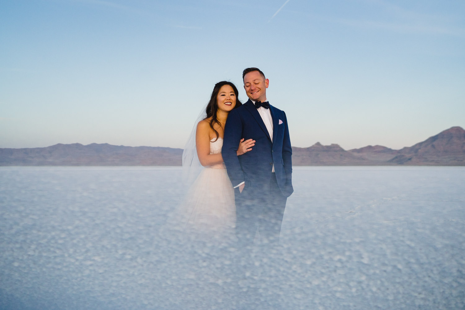 Bonneville Salt Flats wedding couple with salt overlay photo