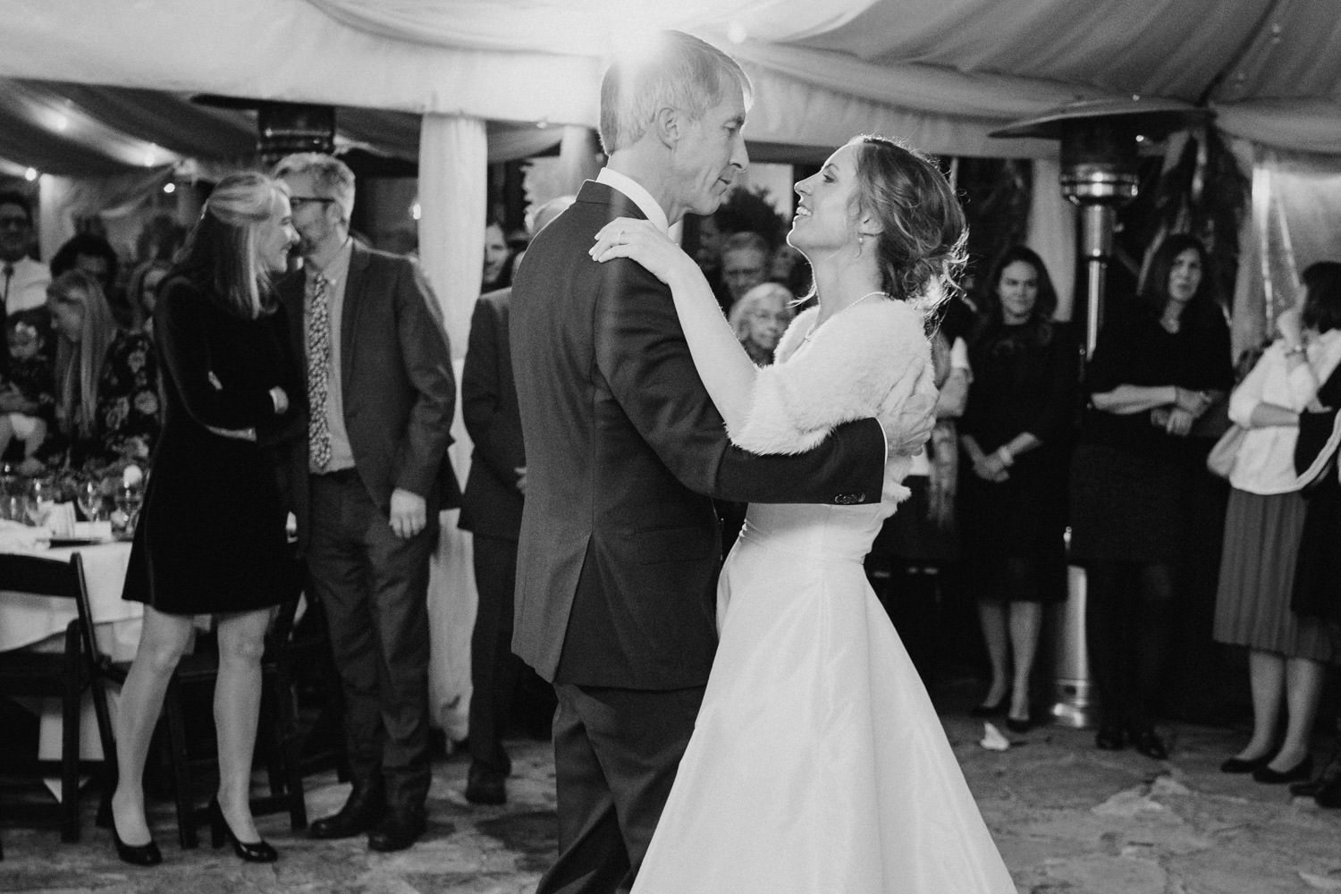Millcreek Inn wedding black and white bride and groom dancing photo