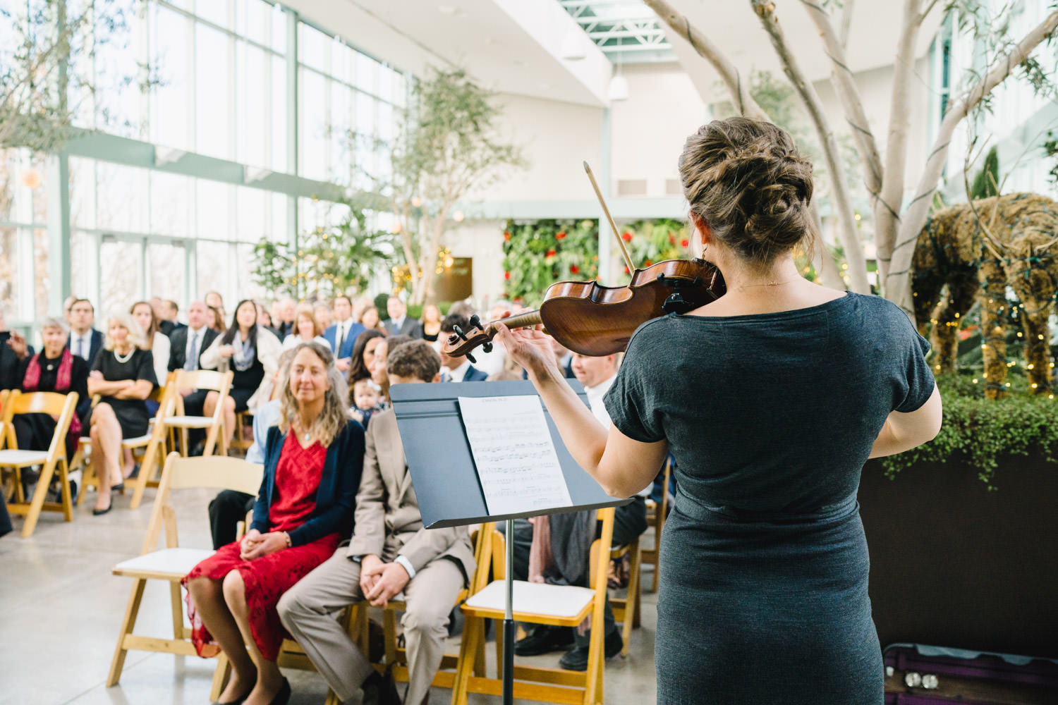 Red Butte Garden wedding ceremony with violin music photo