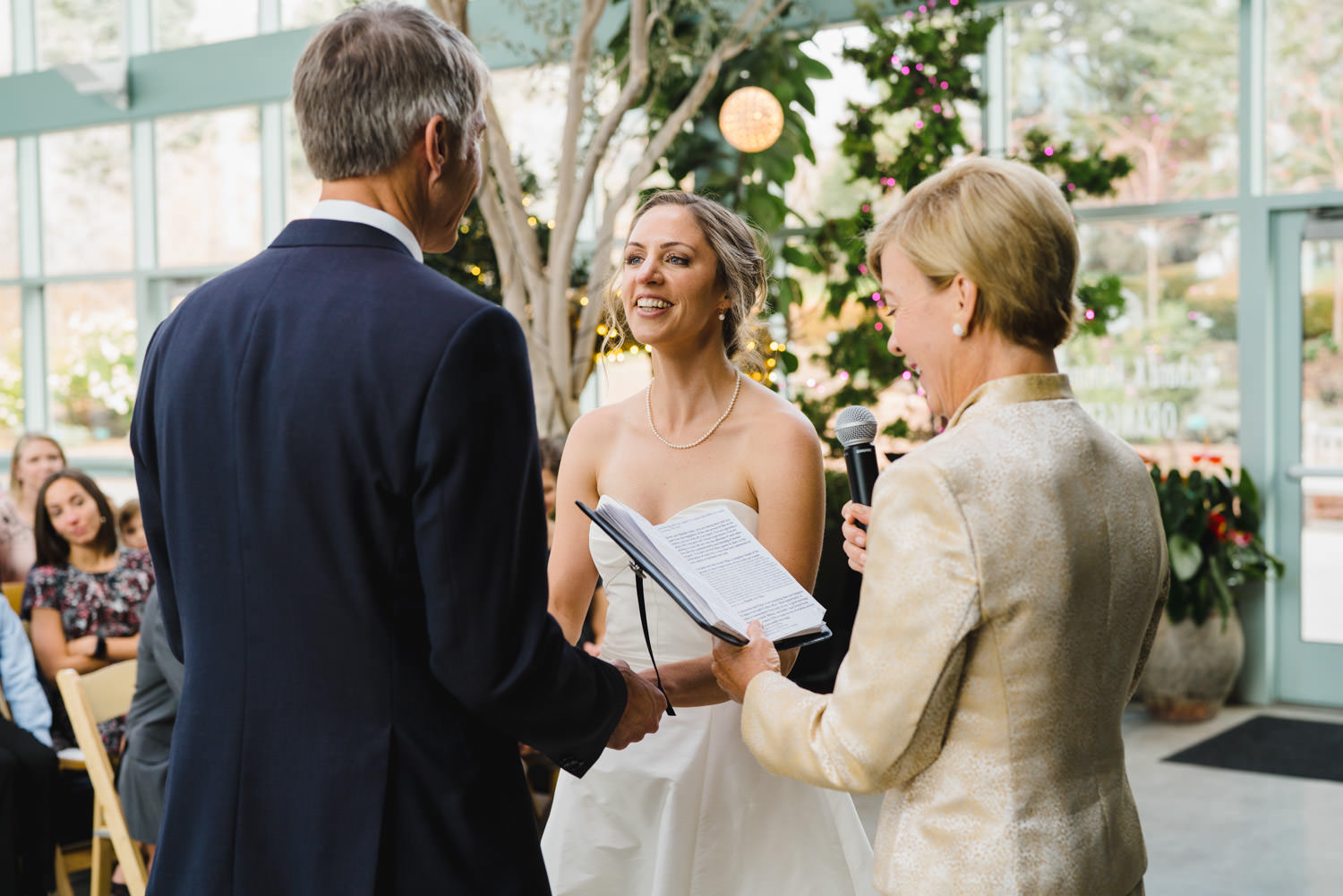 Red Butte Garden wedding bride, groom and officiant photo