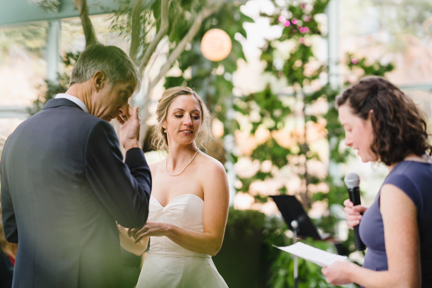 Red Butte Garden wedding intimate moment during ceremony photo