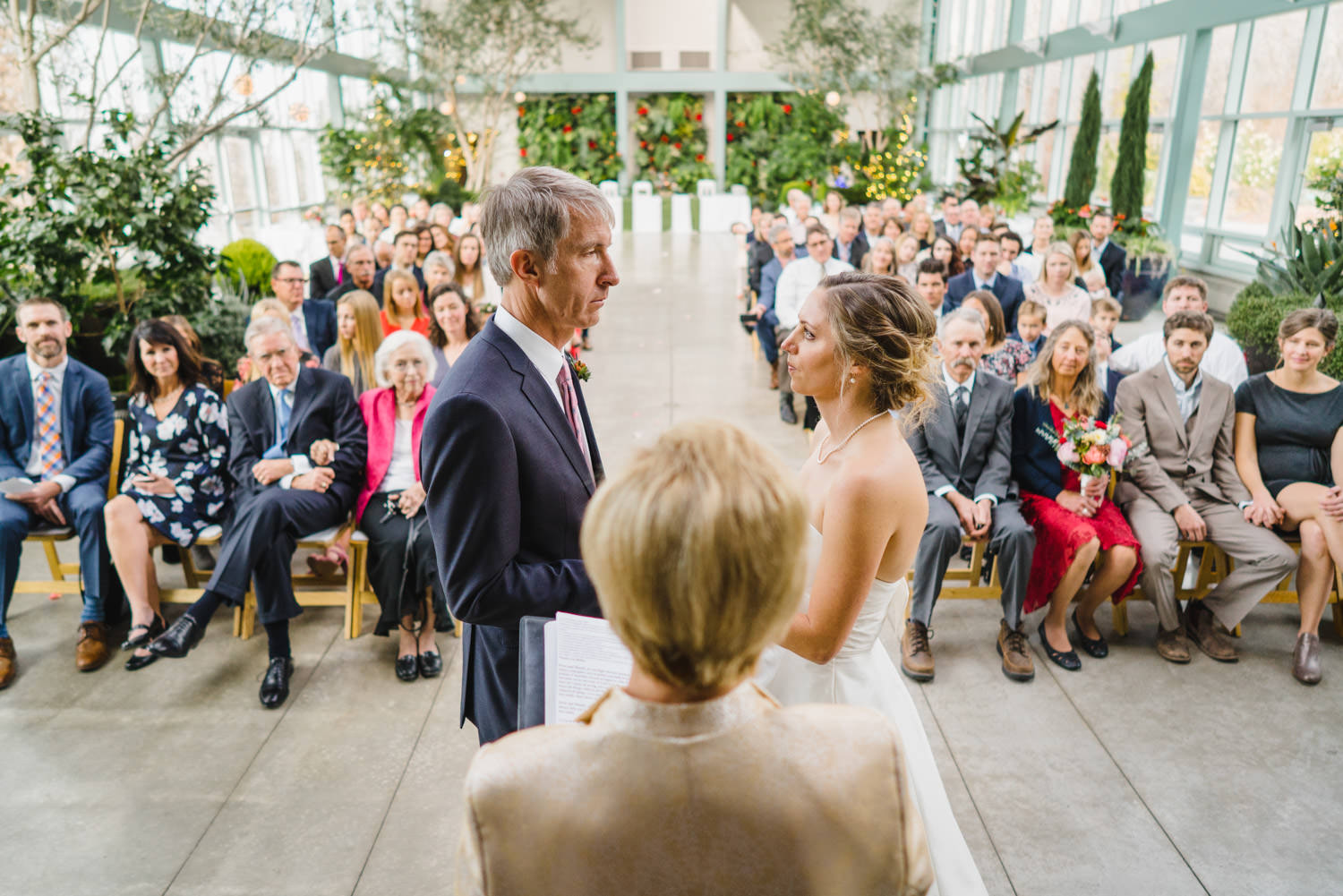 Red Butte Garden wedding bride and groom during ceremony photo
