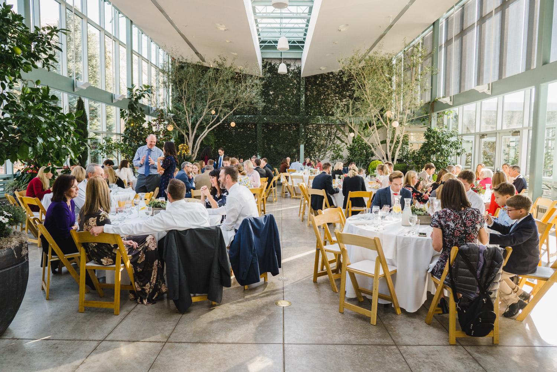 Red Butte Garden wedding reception dinner photo
