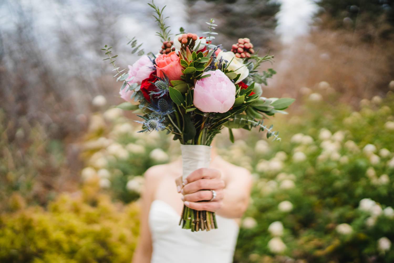 Red Butte Garden wedding colorful bridal bouquet photo