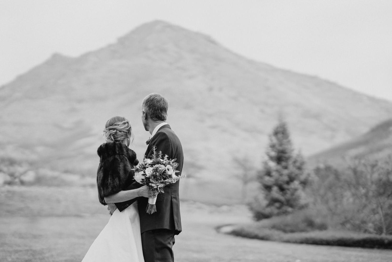 Red Butte Garden wedding black and white wedding portrait photo