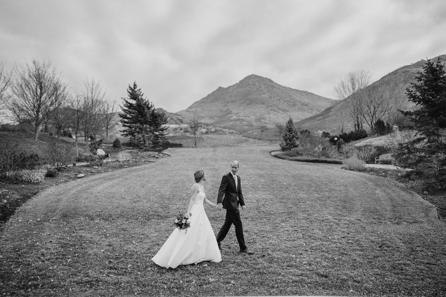 Red Butte Garden wedding black and white couple walking photo