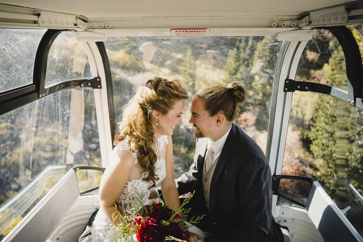 Snowbasin wedding gondola portrait photo
