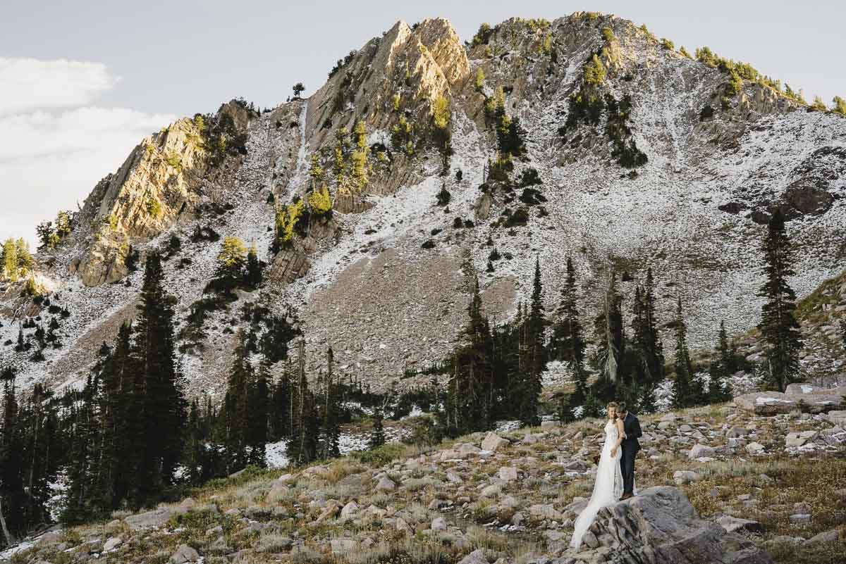 Snowbasin wedding mountain landscape with couple photo