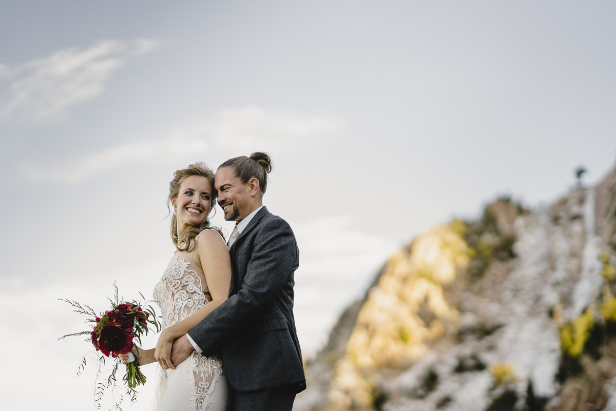 Snowbasin wedding bride and groom smiling together photo