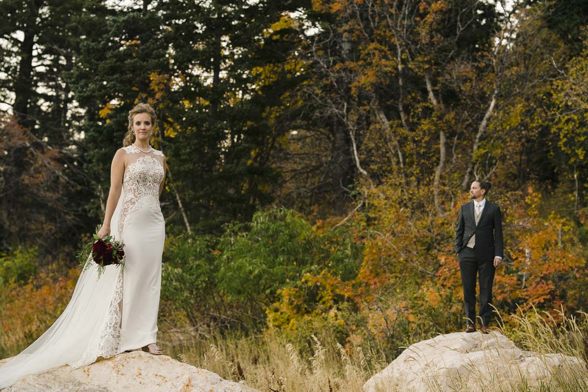 Snowbasin wedding portrait with changing fall leaves photo