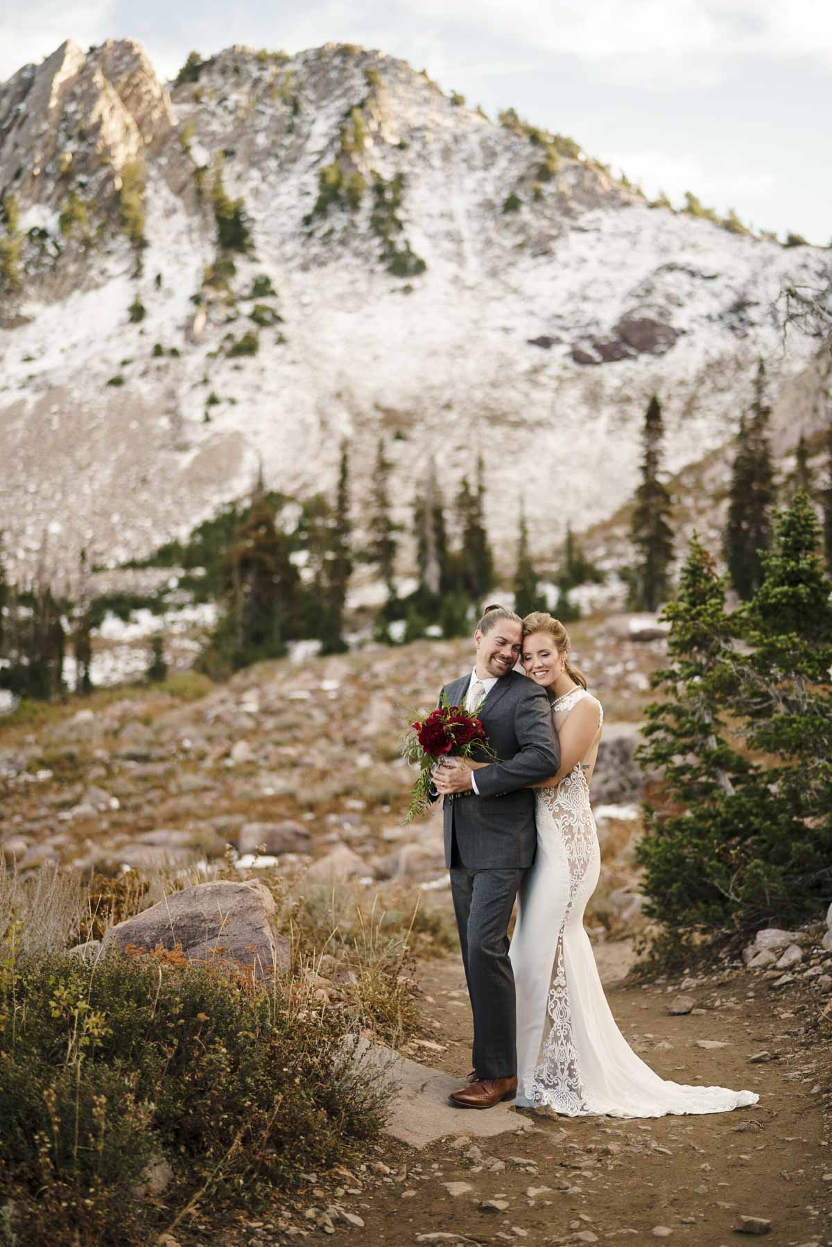 Snowbasin wedding bride and groom intimate portrait photo