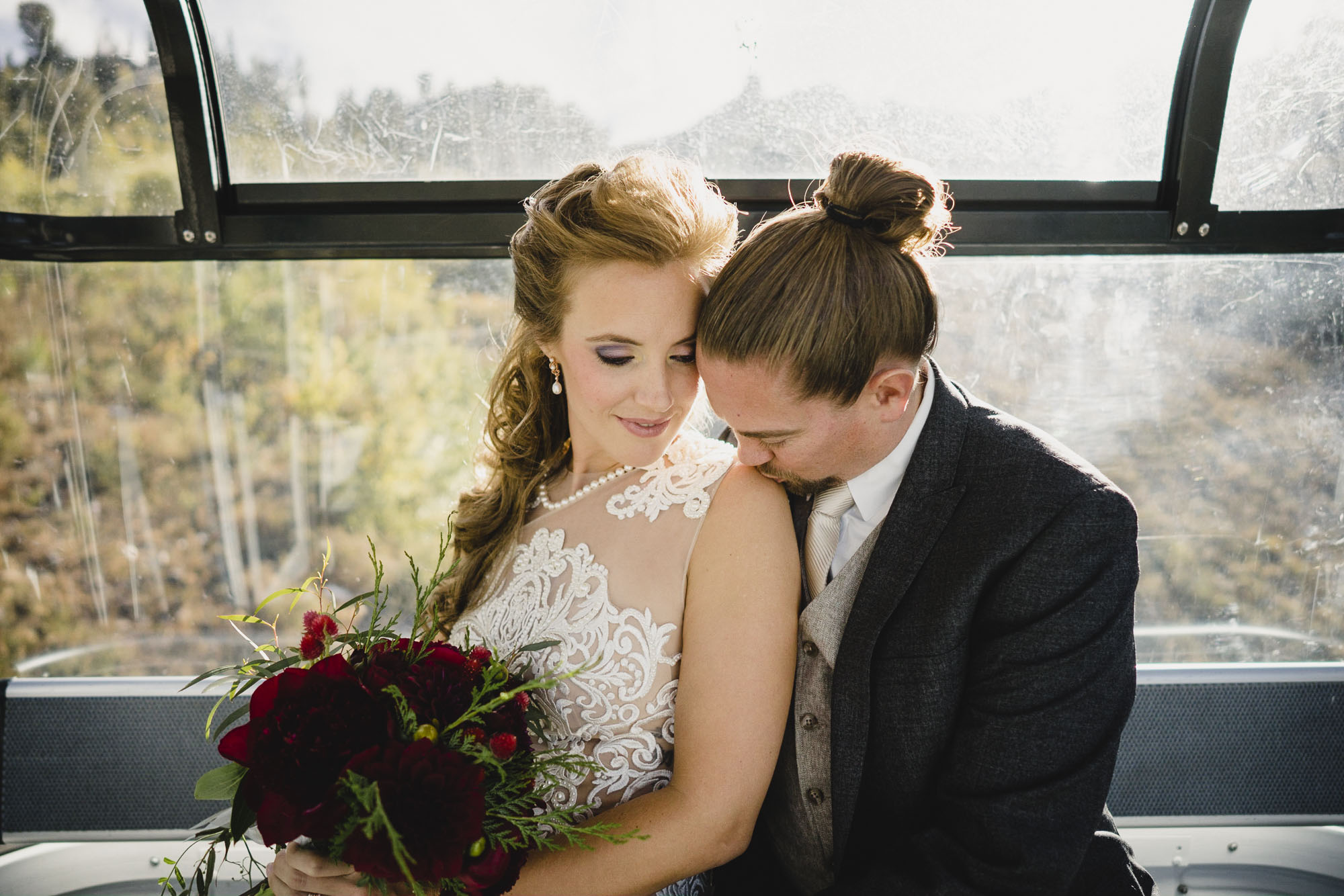 Snowbasin wedding intimate portrait on gondola photo