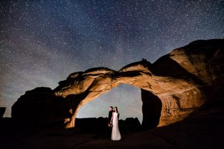 night sky wedding portrait, Broken Arch