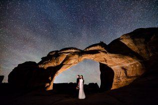 night sky wedding portrait, Broken Arch