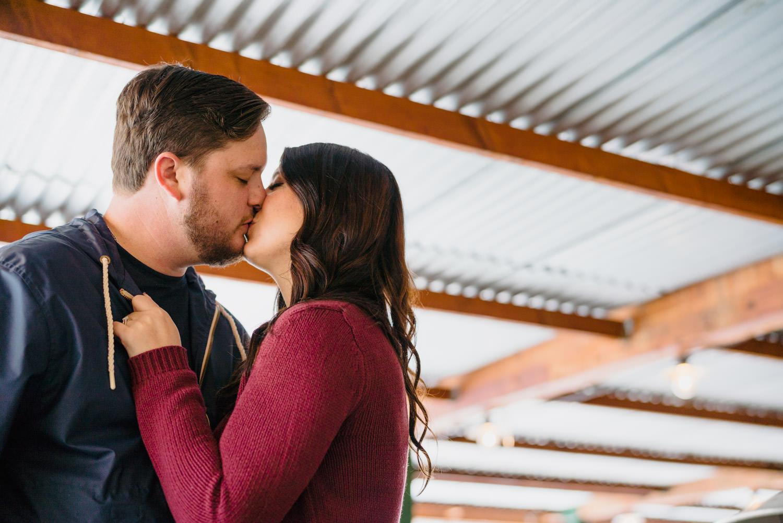Big Cottonwood Canyon engagement couple kissing photo