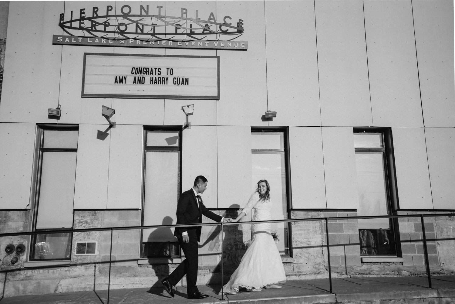 Pierpont Place wedding black and white with congrats sign photo