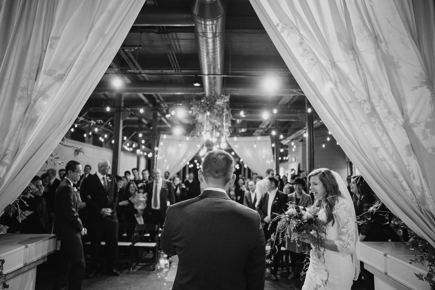 Pierpont Place wedding black and white bride laughing photo