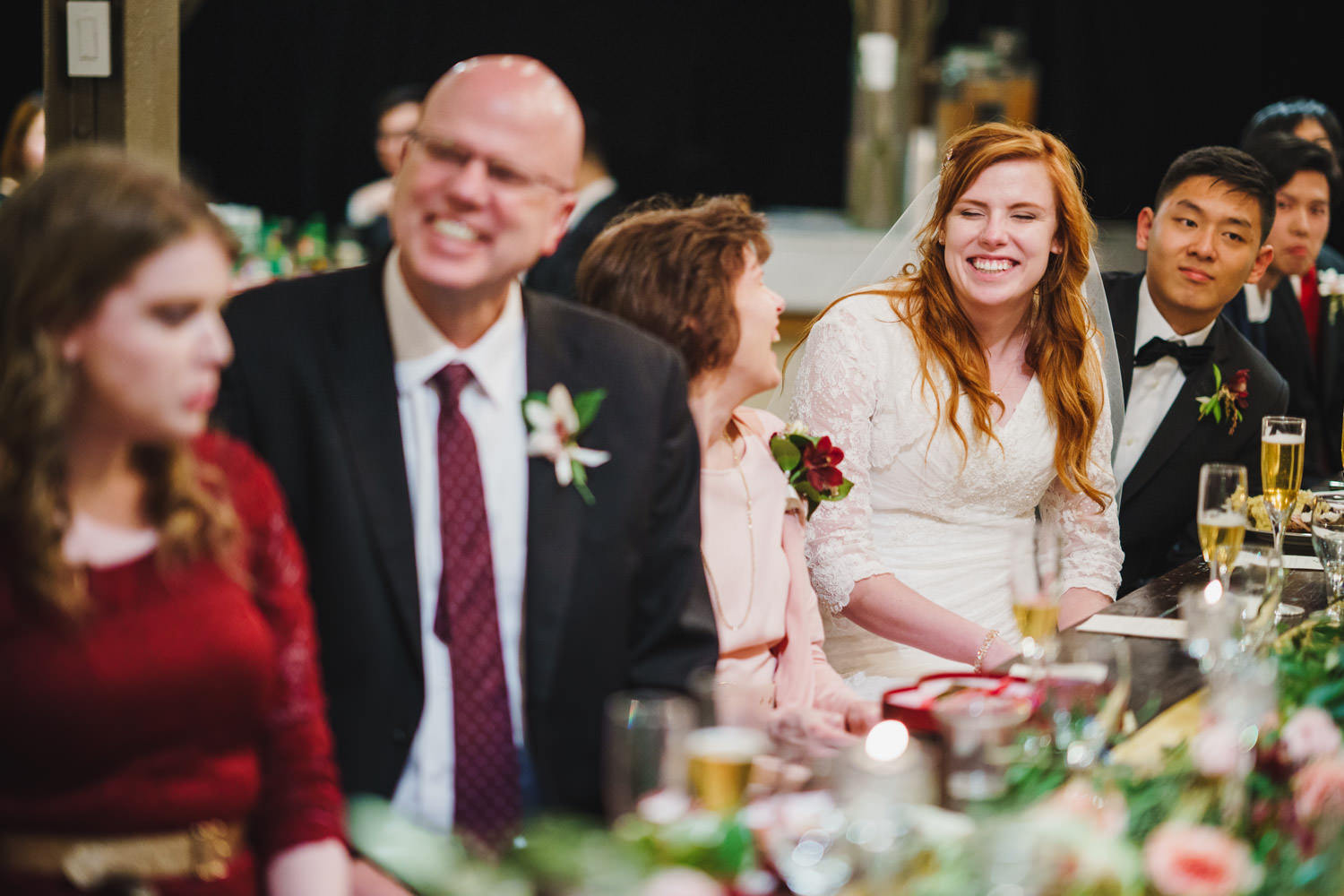 Pierpont Place wedding laughing at reception photo