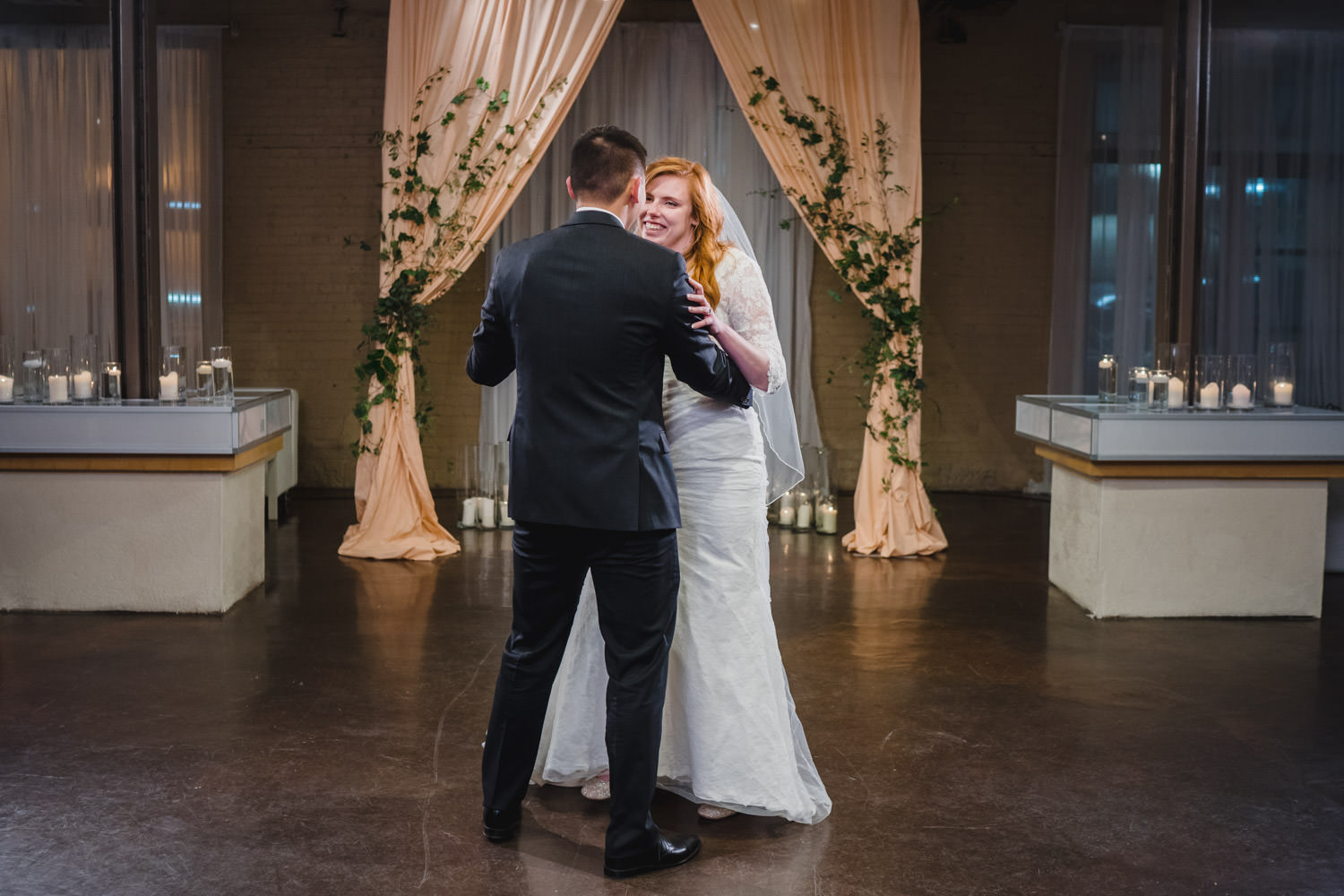 Pierpont Place wedding bride and groom first dance photo