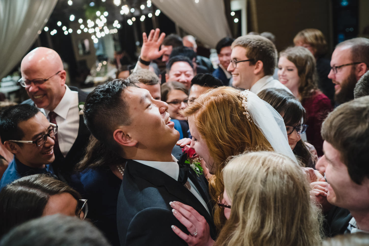 Pierpont Place wedding dance party with bride and groom center photo