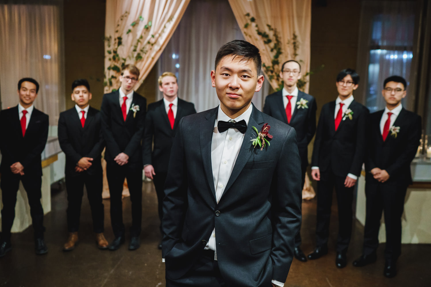 Pierpont Place wedding groom and groomsmen photo