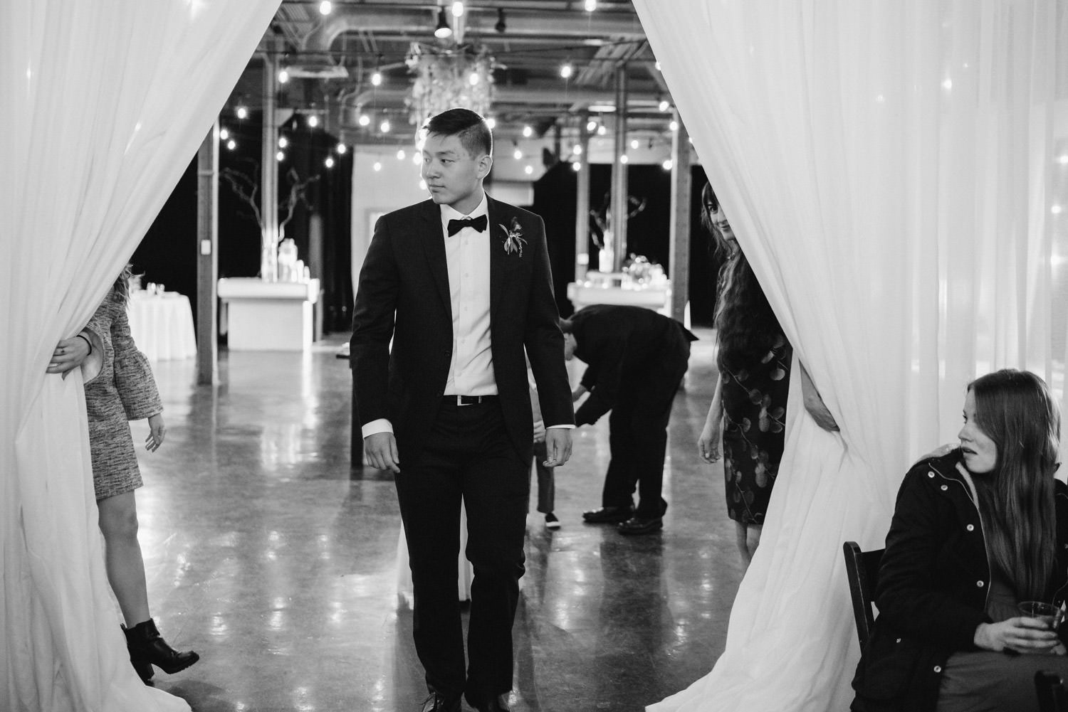 Pierpont Place wedding groom enters ceremony photo