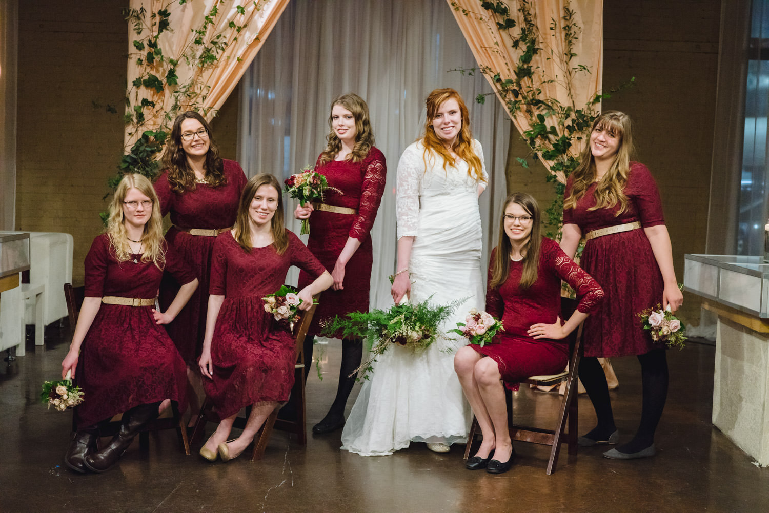 Pierpont Place wedding bride and bridesmaid photo