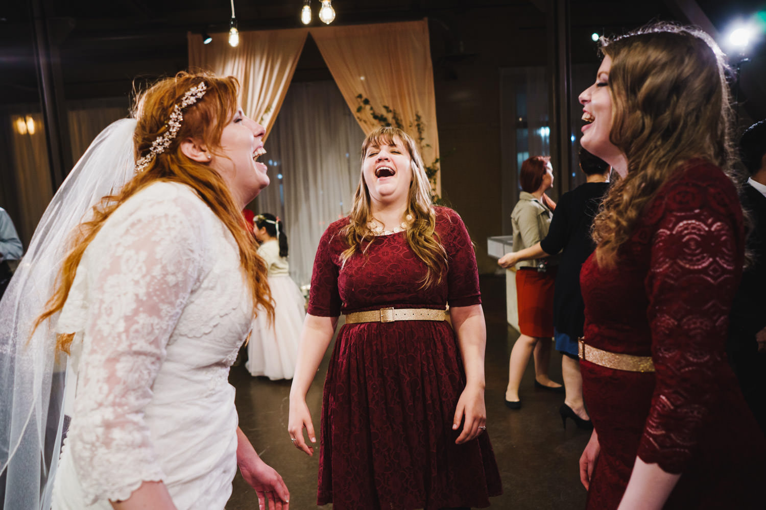 Pierpont Place wedding bride laughing with bridesmaids photo