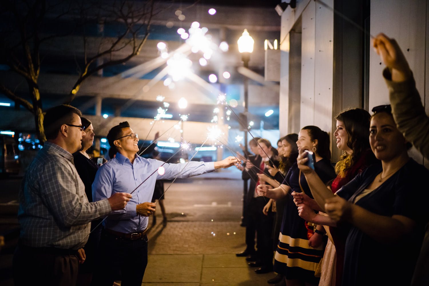 Pierpont Place wedding sparkler exit photo