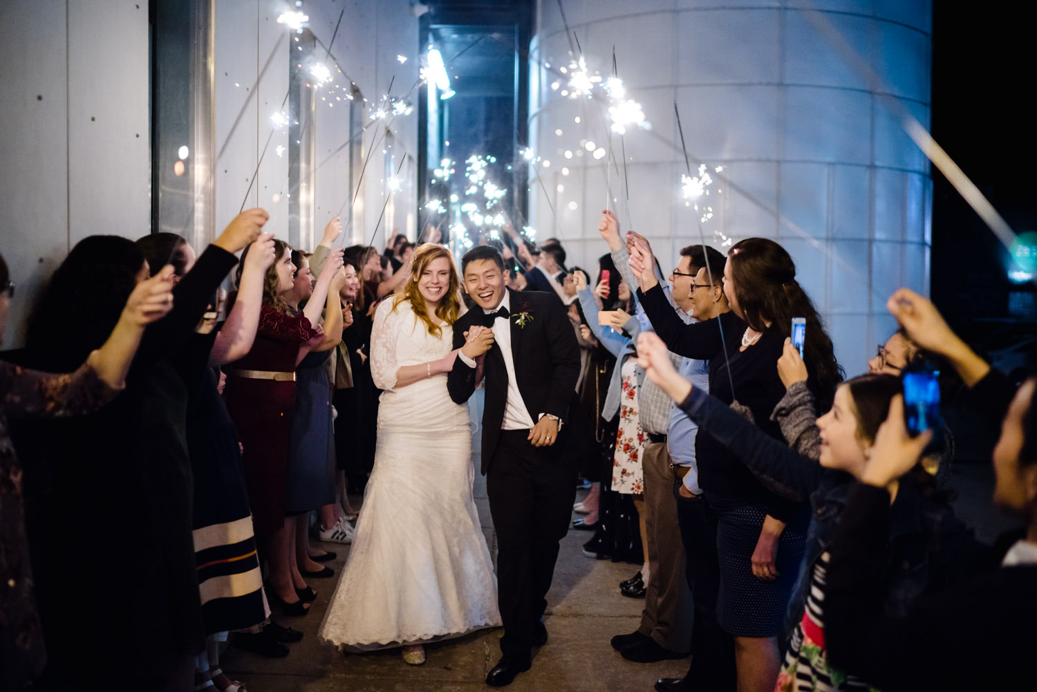 Pierpont Place wedding bride and groom exit to sparklers photo
