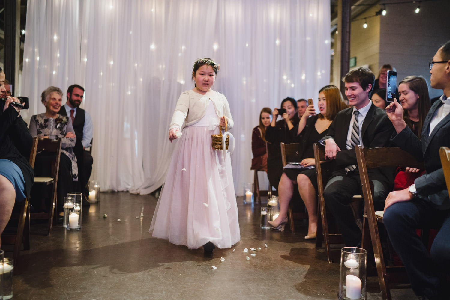 Pierpont Place wedding flower girl at ceremony photo