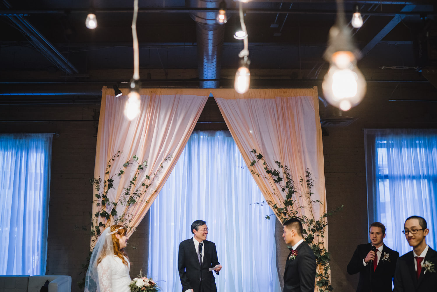 Pierpont Place wedding bride, groom and officiant at ceremony photo