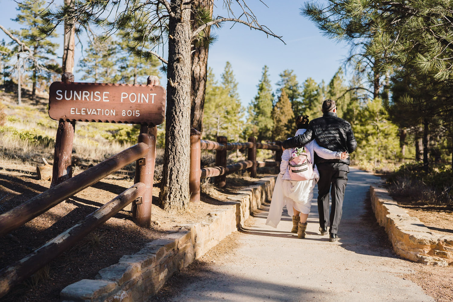 Bryce Canyon elopement starting hike to Sunrise Point photo
