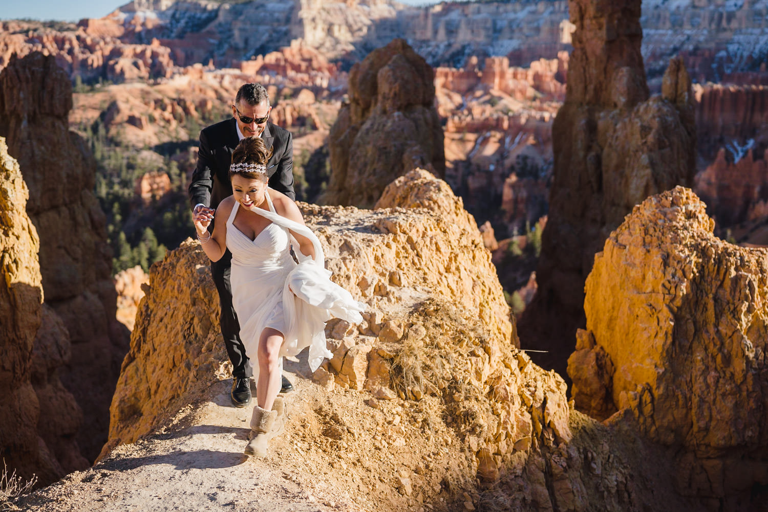 Bryce Canyon elopement bride and groom on rocks photo