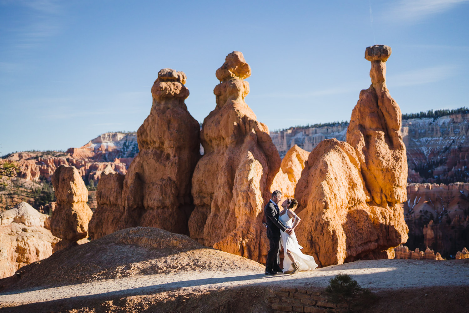 Bryce Canyon elopement bride and groom on Queens Garden Trail photo