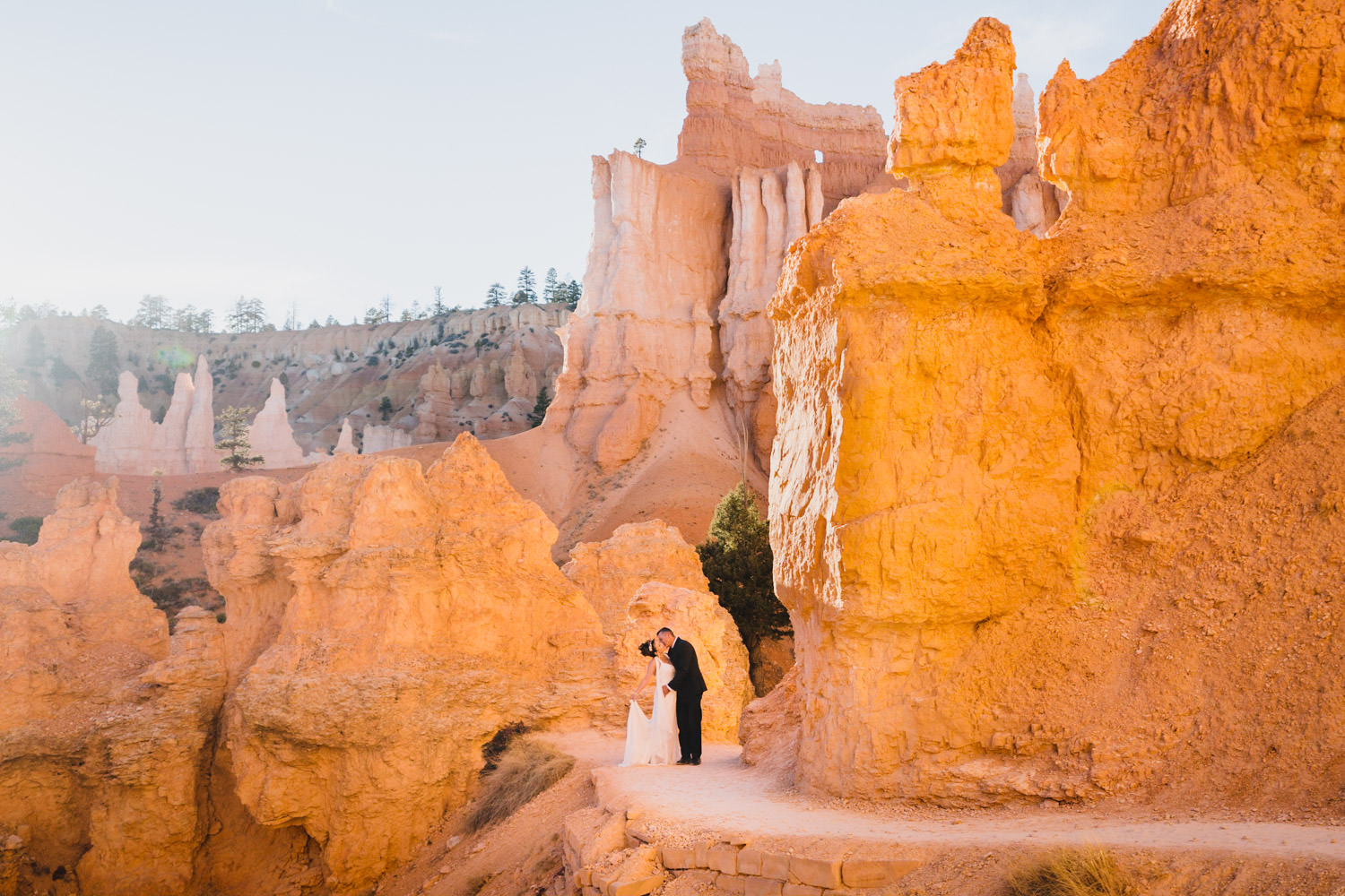 Bryce Canyon elopement golden hour on Queens Garden Trail photo