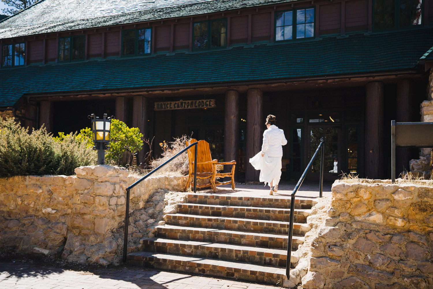 Bryce Canyon elopement bride walking to lodge photo