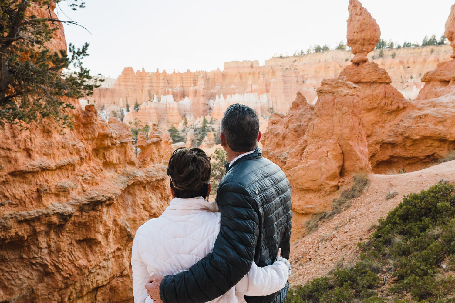 Bryce Canyon elopement bride and groom overlooking scenery photo
