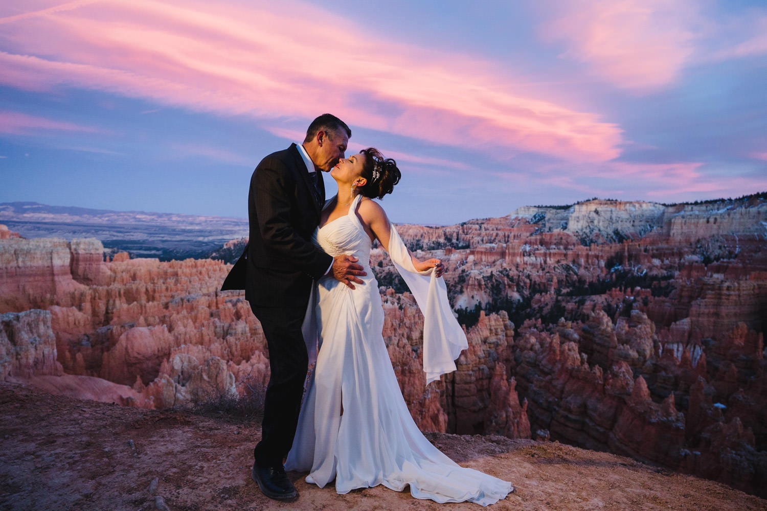 Bryce Canyon elopement with colorful sky photo