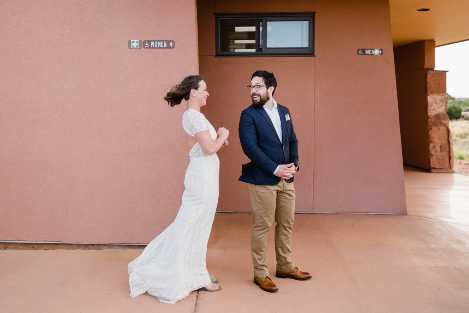 Dead Horse Point elopement first look smiles photo