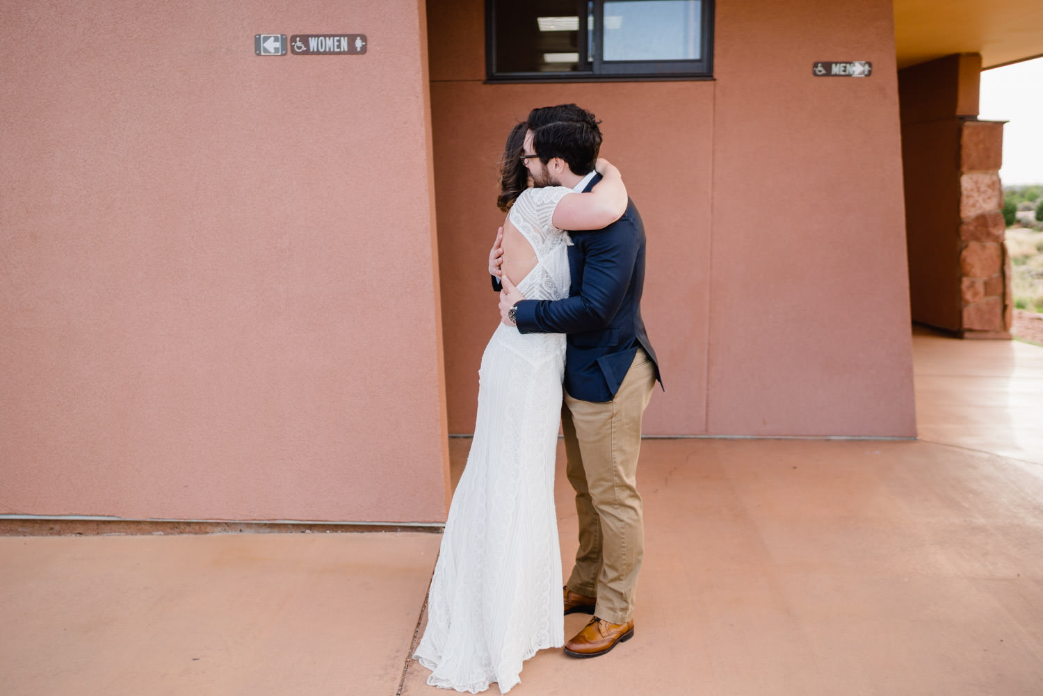 Dead Horse Point elopement first look hug photo