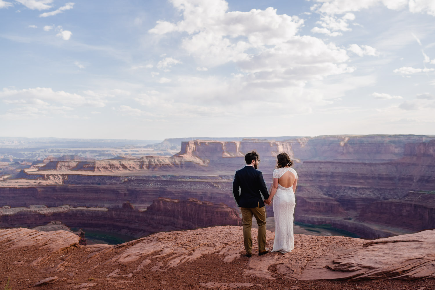 Dead Horse Point elopement bride and groom at overlook photo