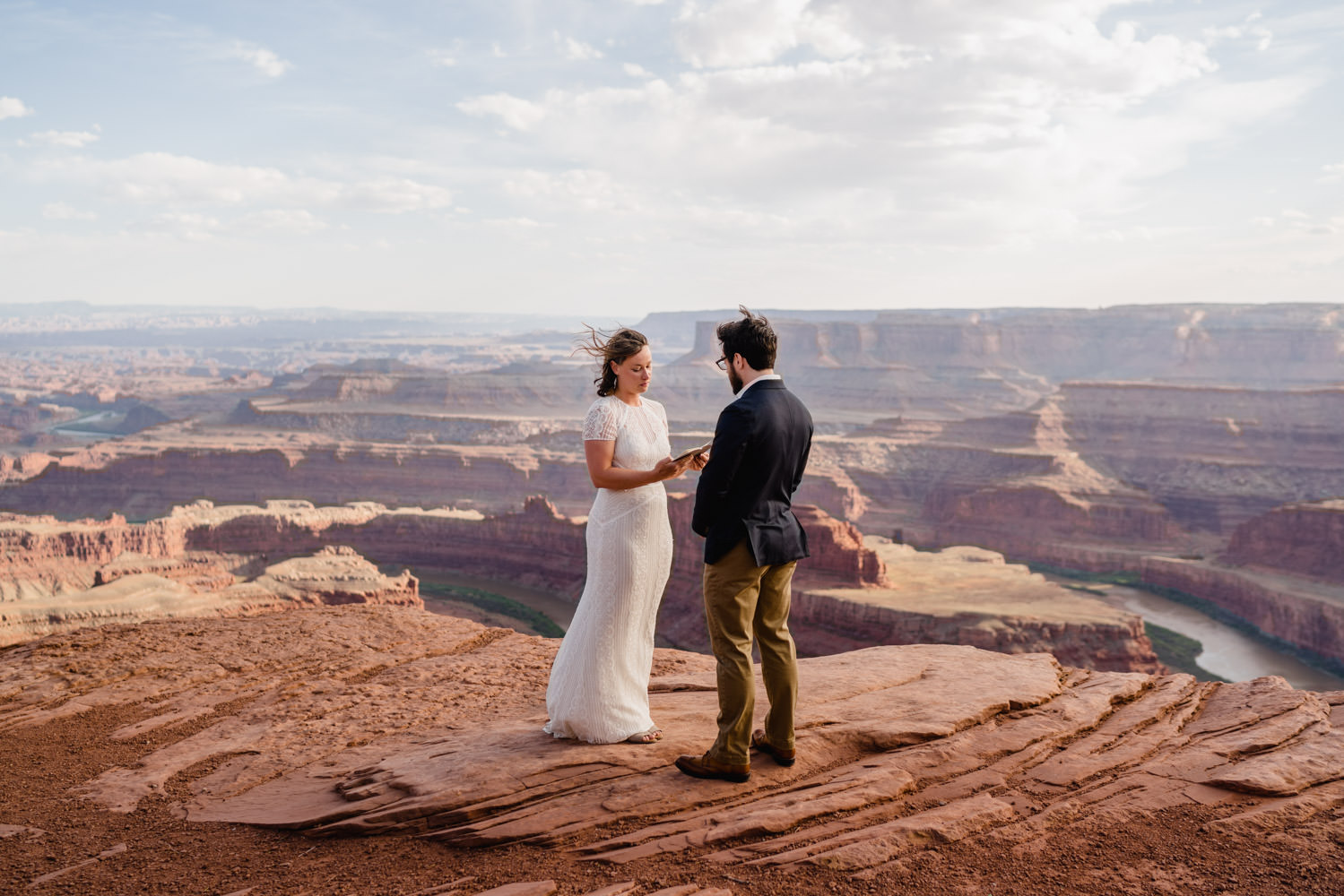 Dead Horse Point elopement bride saying vows photo