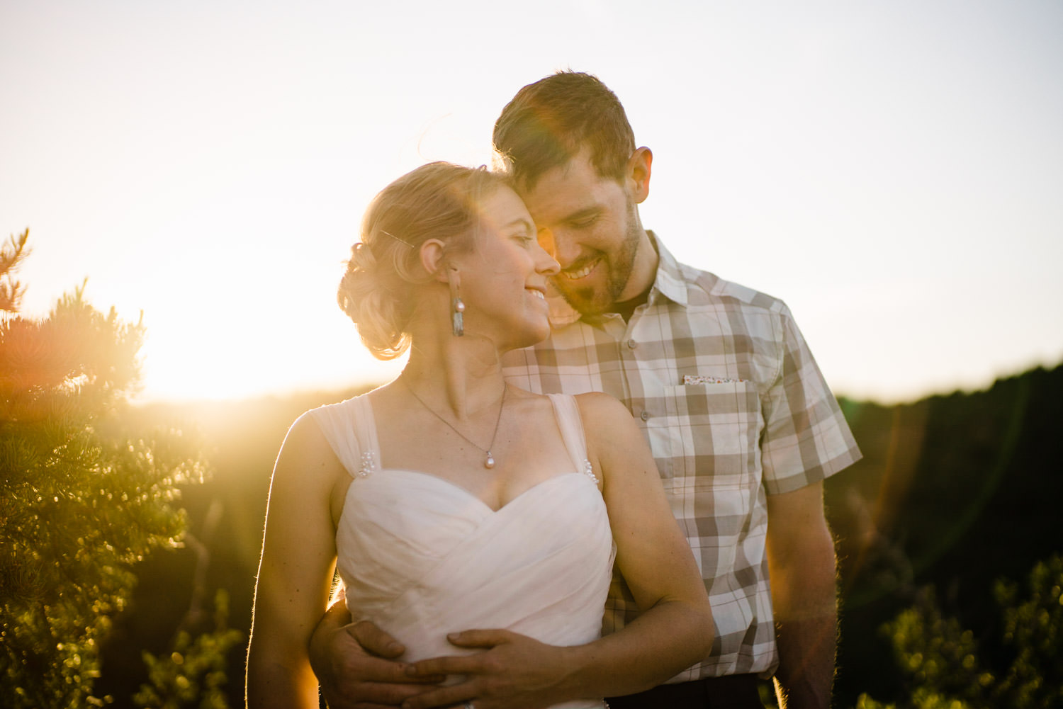 Zion National Park Wedding bride and groom smiling photo