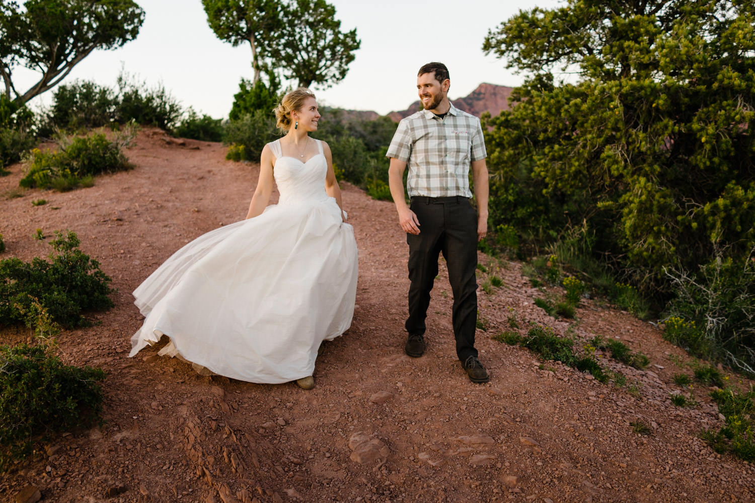 Kolob Canyons Wedding in Zion National Park newlyweds smiling photo
