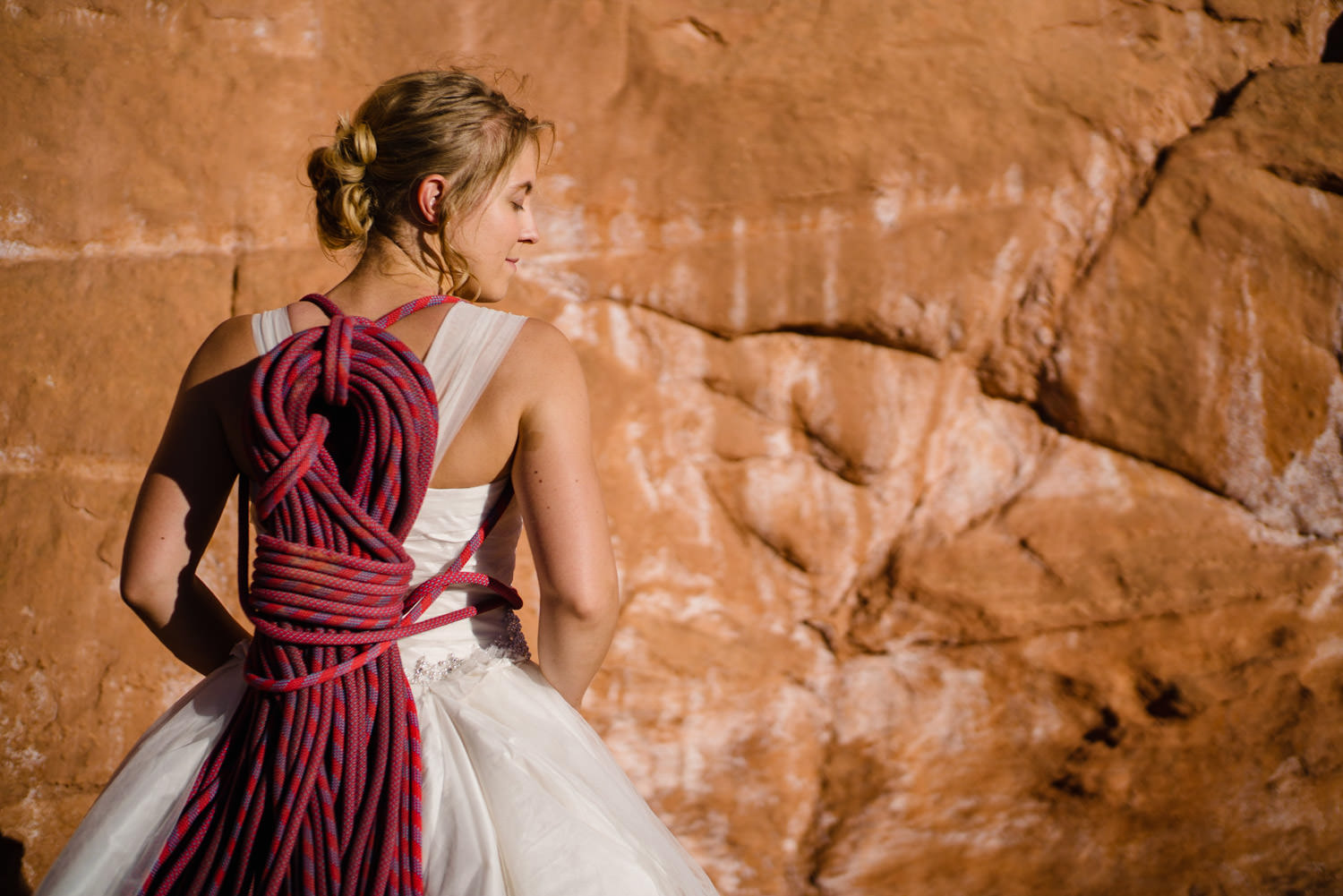 Kolob Canyons Wedding in Zion National Park bride with climbing rope photo